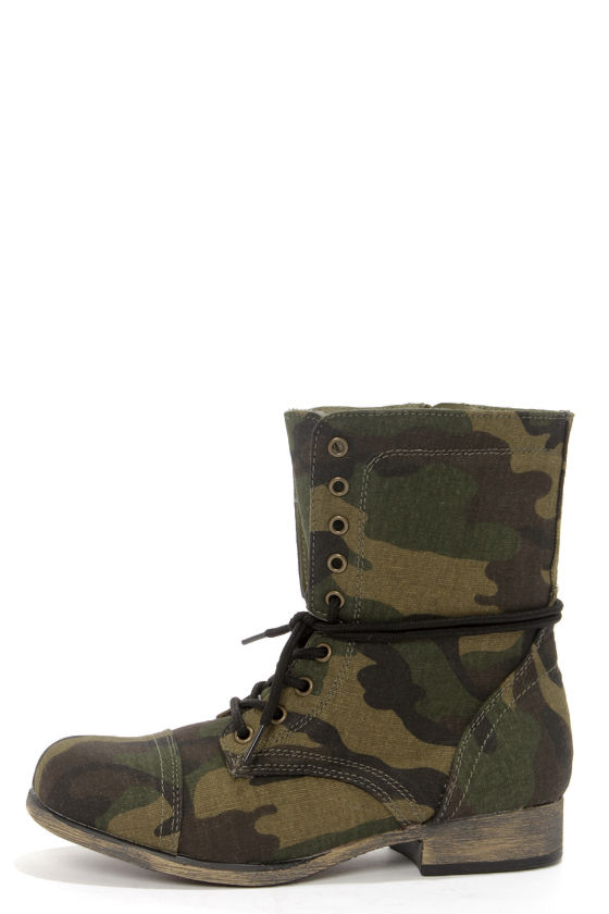 new style 75fc0 791f3 Bamboo Surprise 13 Camo Print Lace-Up Combat Boots