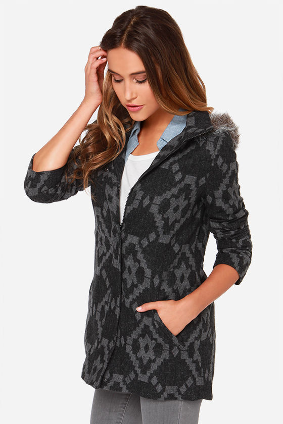 Jack by BB Dakota Rupert Black and Grey Coat at Lulus.com!