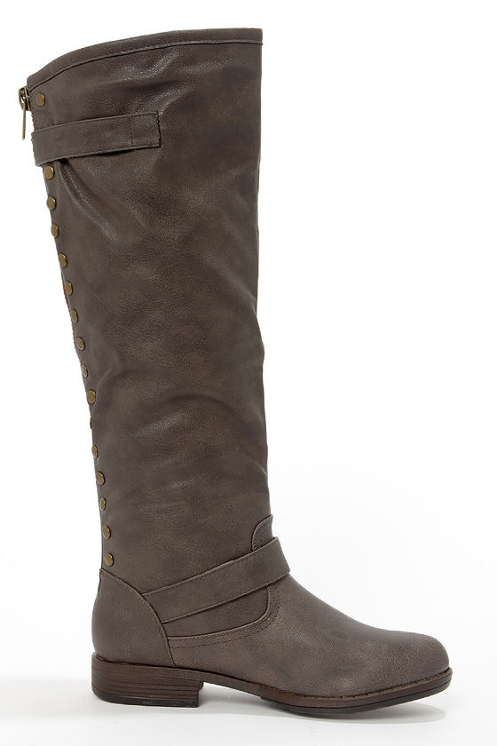 Bamboo Montage 83 Taupe Studded Knee-High Riding Boots at Lulus.com!