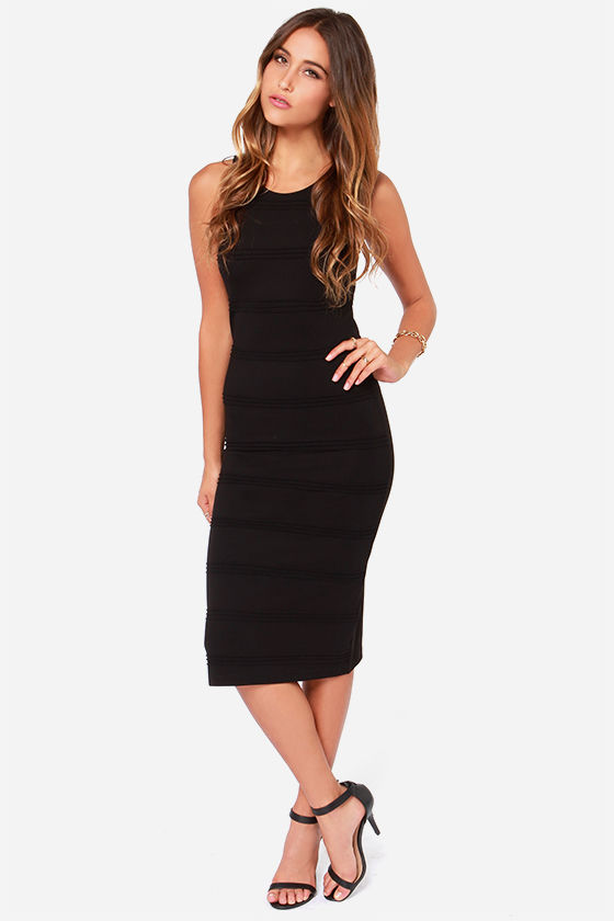 BB Dakota Keading Black Midi Dress at Lulus.com!