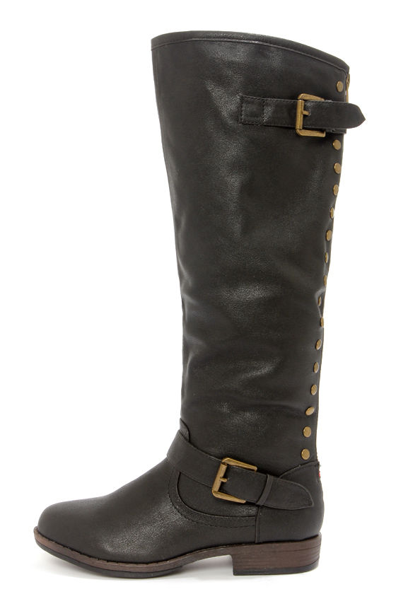 Bamboo Montage 83 Black Studded Knee-High Riding Boots at Lulus.com!