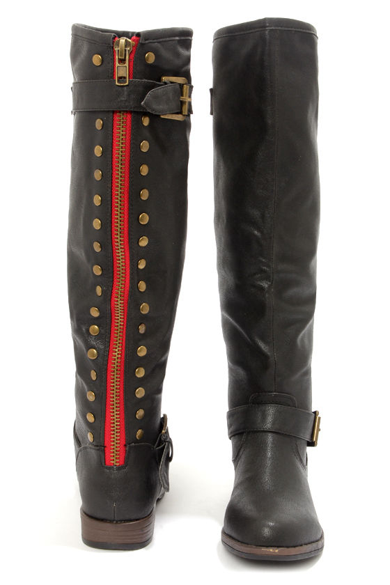 black boots studded boots knee high boots