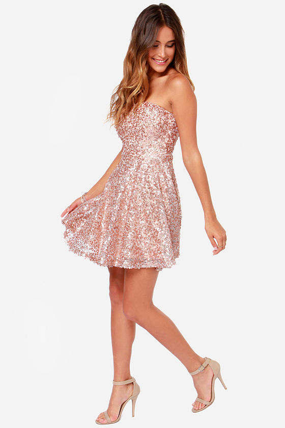 046ffa6f74 Rose Gold Dress - Sequin Dress - Strapless Dress -  55.00