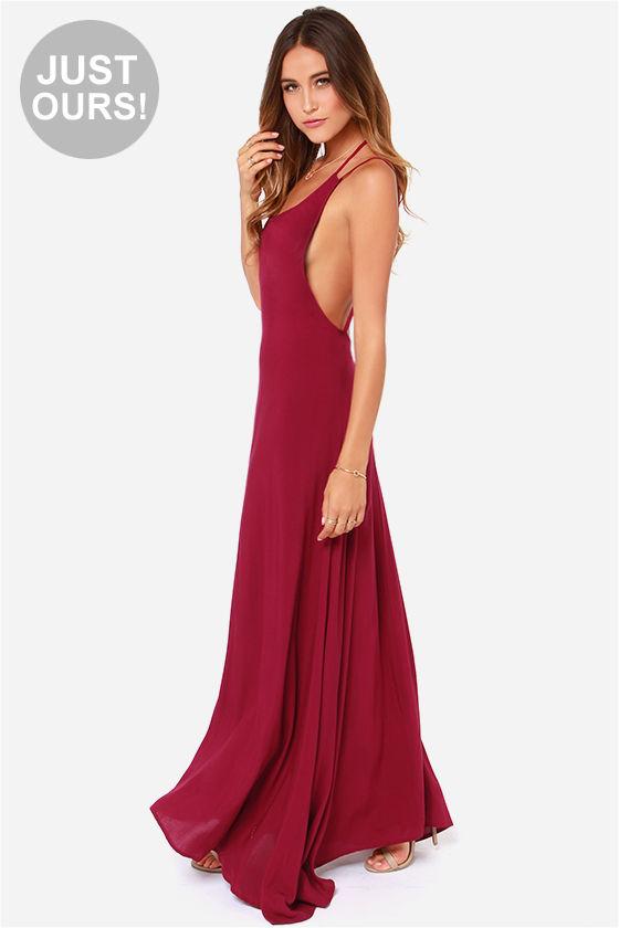 443b7a795b2 Sexy Burgundy Dress - Maxi Dress - Backless Dress -  48.00