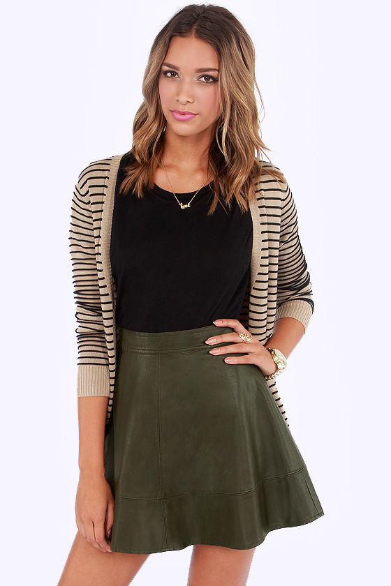 Cute Olive Green Skirt - Vegan Leather Skirt - $43.00