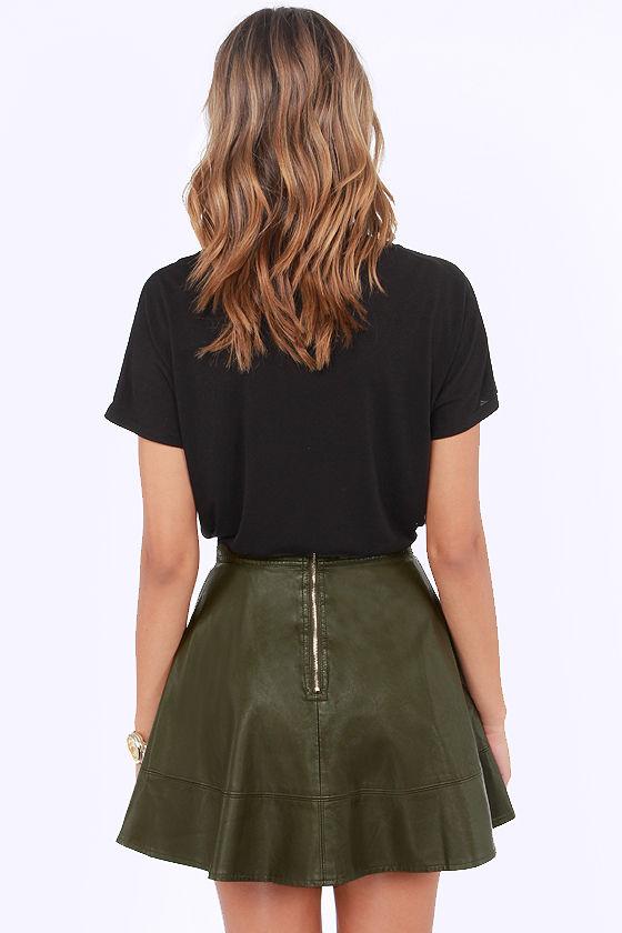 Olive Skater Skirt - Skirts