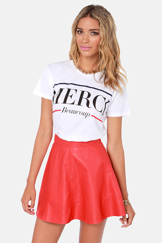 Cute Red Skirt - Vegan Leather Skirt - $43.00