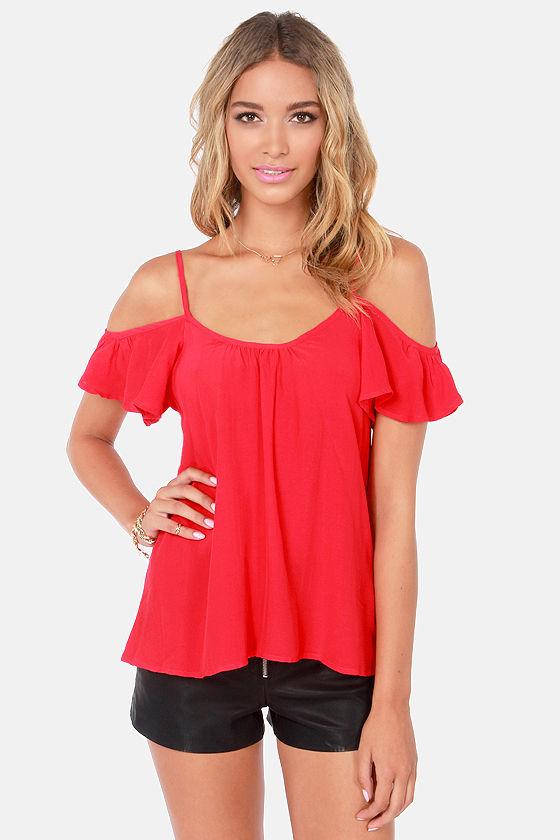 c42482de2889c4 Lucy Love Hollie Top - Off-the-Shoulder Top - Red Top -  49.00