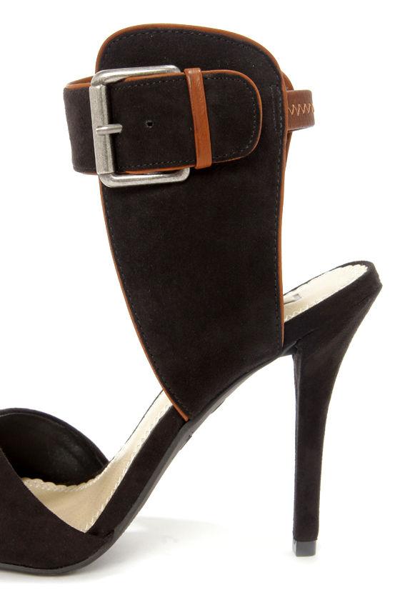 Mia Dietrich Black Suede D'Orsay Peep Toe Heels at Lulus.com!