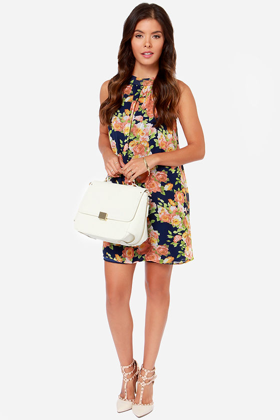 LULUS Exclusive Fleur-Ever Yours Navy Blue Floral Print Dress at Lulus.com!