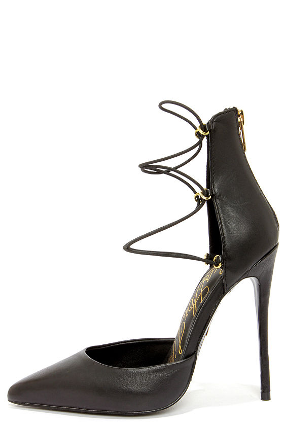 Lust for Life Kiss Me Black Leather High Heels at Lulus.com!