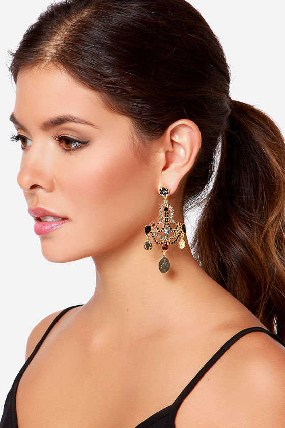Enchanting Empress Black Rhinestone Earrings at Lulus.com!