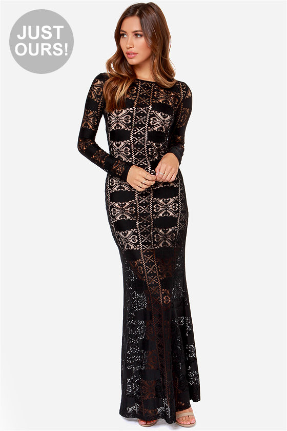 Black Lace Dress - Maxi Dress - Bodycon Dress - $40.00