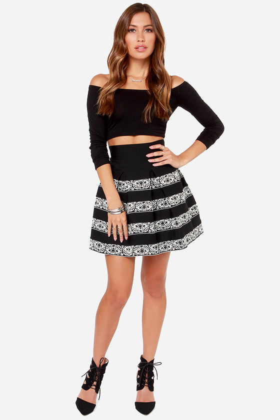 Baroque and Roll Black and Ivory Bandage Skirt at Lulus.com!