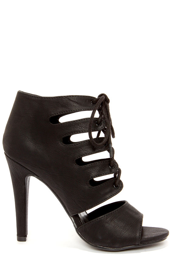 My Delicious Scanda Black Lace-Up High Heel Booties at Lulus.com!
