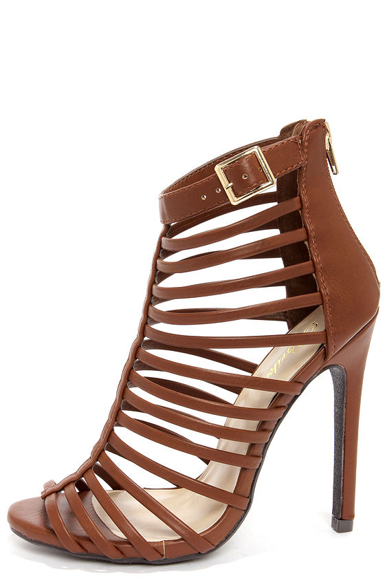 Peep Toe Shoes - Tan Caged Heels - High Heel Sandals - $31.00