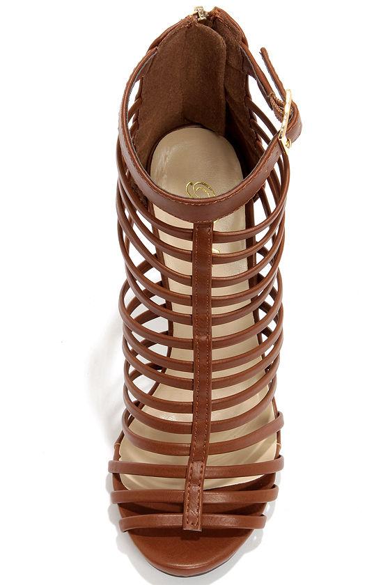 Paprika Julio Tan Caged High Heel Sandals at Lulus.com!