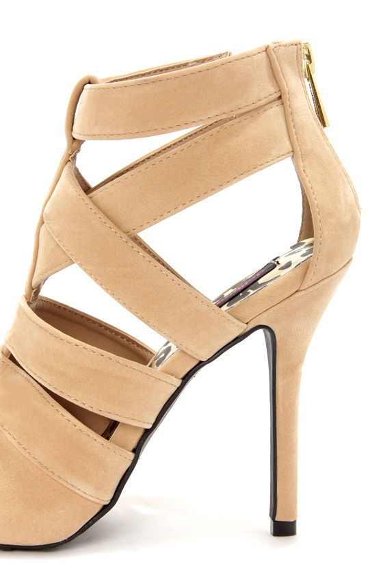 Dollhouse Tricky Nude Strappy Pointed Toe Pumps at Lulus.com!