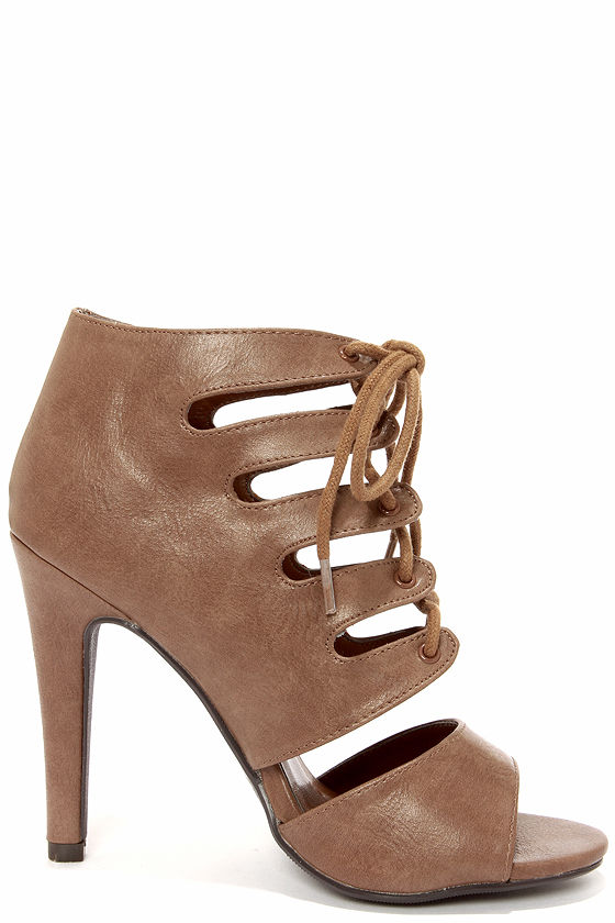 My Delicious Scanda Taupe Lace-Up High Heel Booties at Lulus.com!