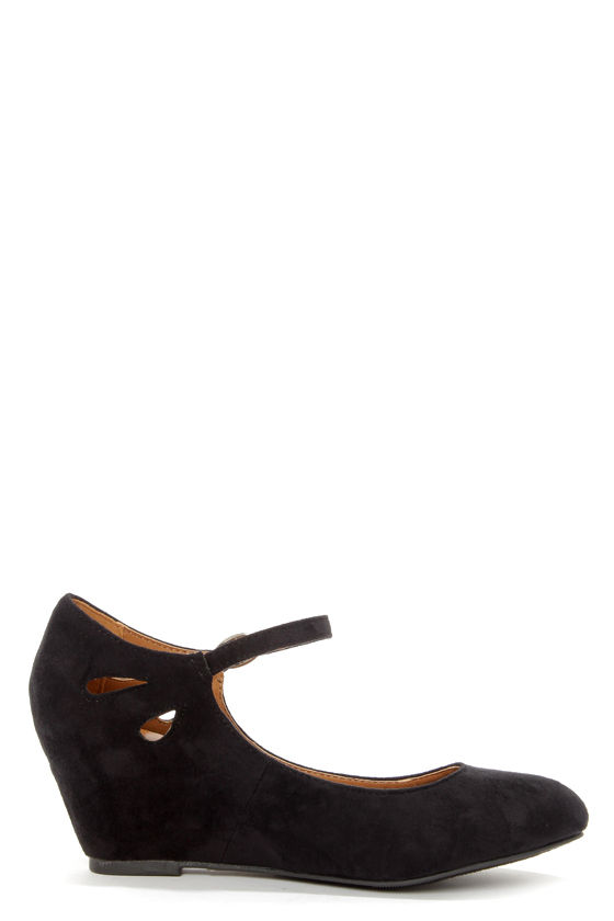 City Classified Tylee Black Suede Ankle Strap Wedges at Lulus.com!