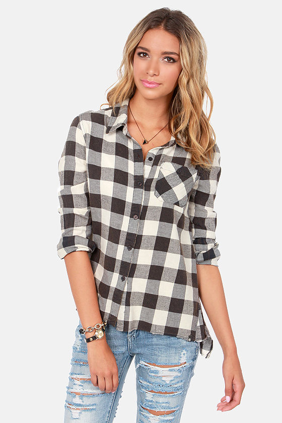 Billabong Need for Luv Black and Ivory Plaid Button-Up Top at Lulus.com!