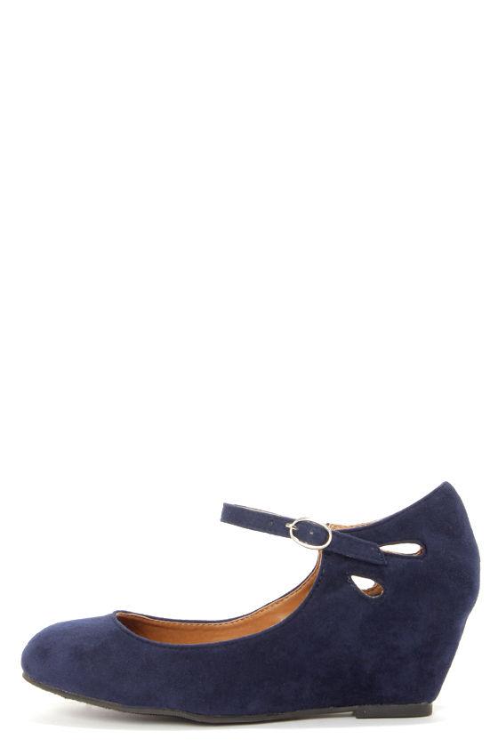 4d422b860d7 Cute Navy Blue Shoes - Ankle Strap Shoes - Blue Wedges -  26.00