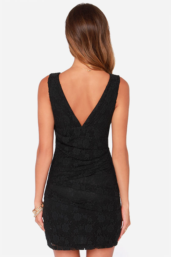 Pleat as Candy Black Lace Dress at Lulus.com!