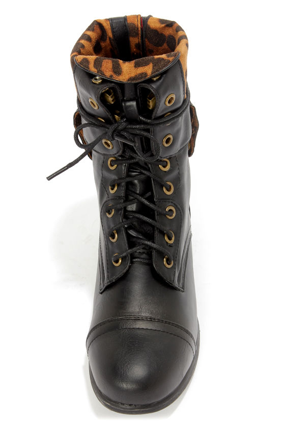 Bamboo Surprise 01N Black Lace-Up Convertible Combat Boots at Lulus.com!