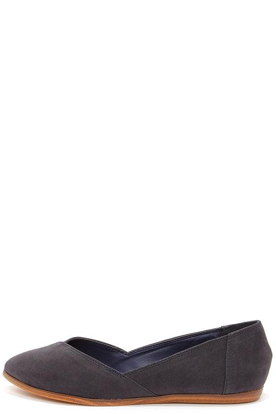 9a5004e4084f Cute Dark Navy Blue Flats - Nubuck Flats - Blue Shoes -  24.00