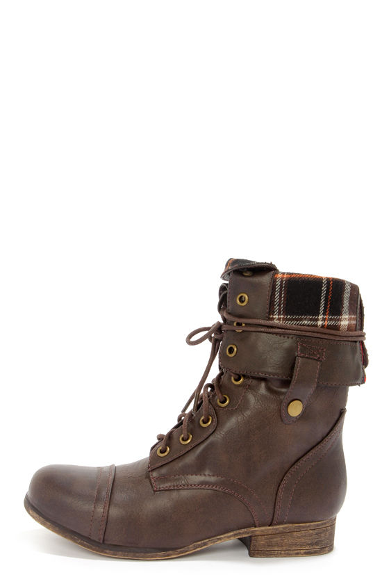 7f9d54e0cd6 Cute Combat Boots - Brown Boots - Lace-Up Boots -  47.00