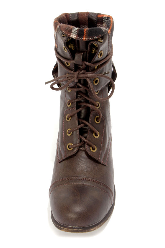 Bamboo Surprise 01N Brown Lace-Up Convertible Combat Boots at Lulus.com!