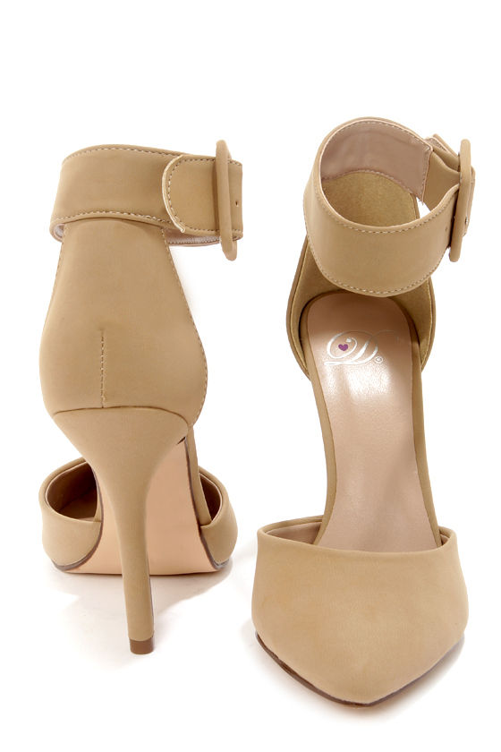 My Delicious Aveta Oat Beige Nubuck Ankle Strap Heels at Lulus.com!