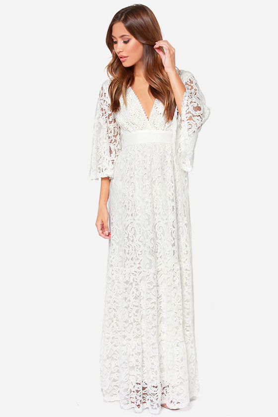 - Gorgeous Ivory Lace Dress - Maxi Dress - Long Sleeve Dress - $158.00