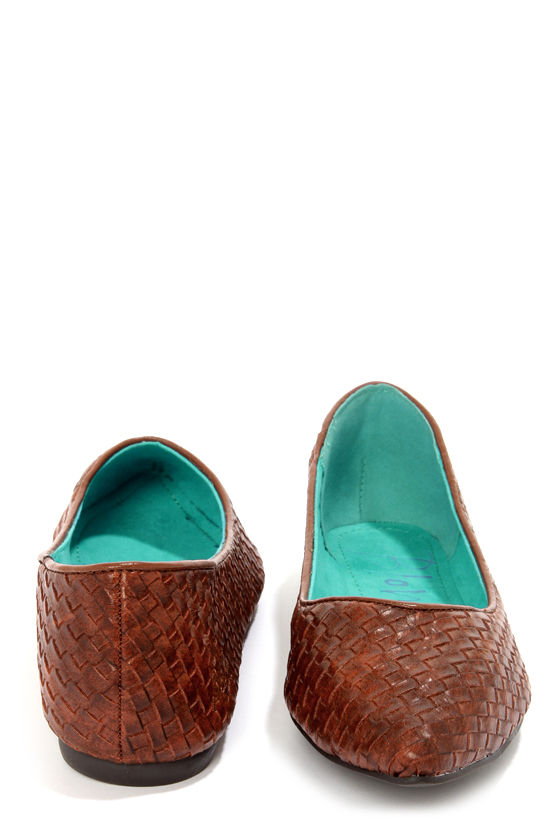 Blowfish Dame Cognac Madrid Woven Pointed Flats at Lulus.com!