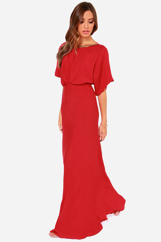 Gorgeous Red Dress - Maxi Dress - Beaded Dress - $75.00