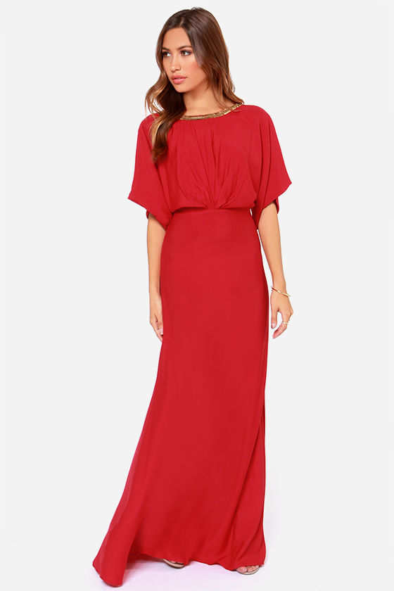 Red Maxi Dress with Sleeves