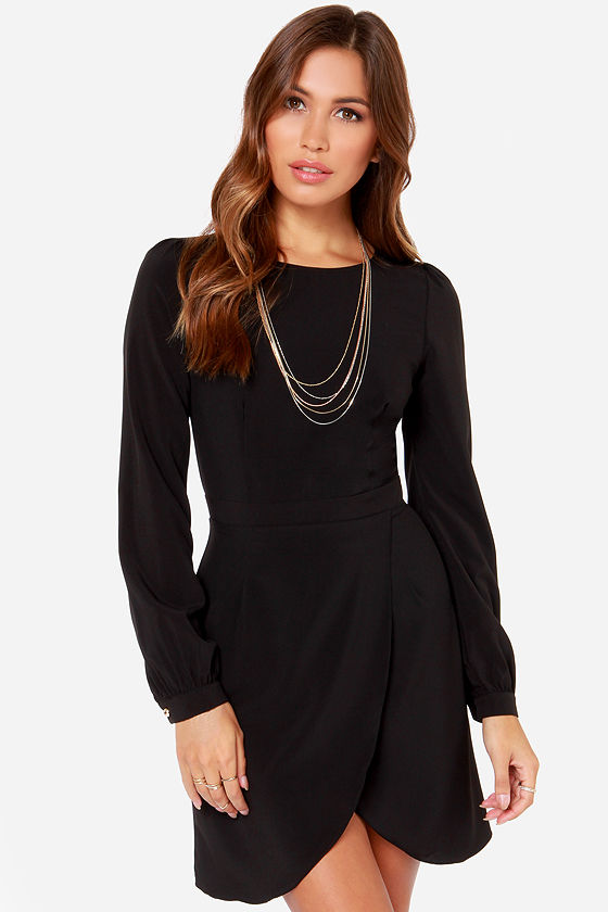 Chic Black Dress - Long Sleeve Dress - LBD - Tulip Skirt Dress ...