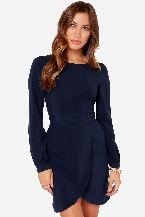Chic Navy Blue Dress - Long Sleeve Dress - Tulip Skirt Dress - $40.00