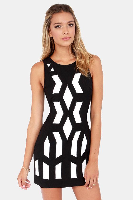 Mod-al Verb Ivory and Black Dress at Lulus.com!