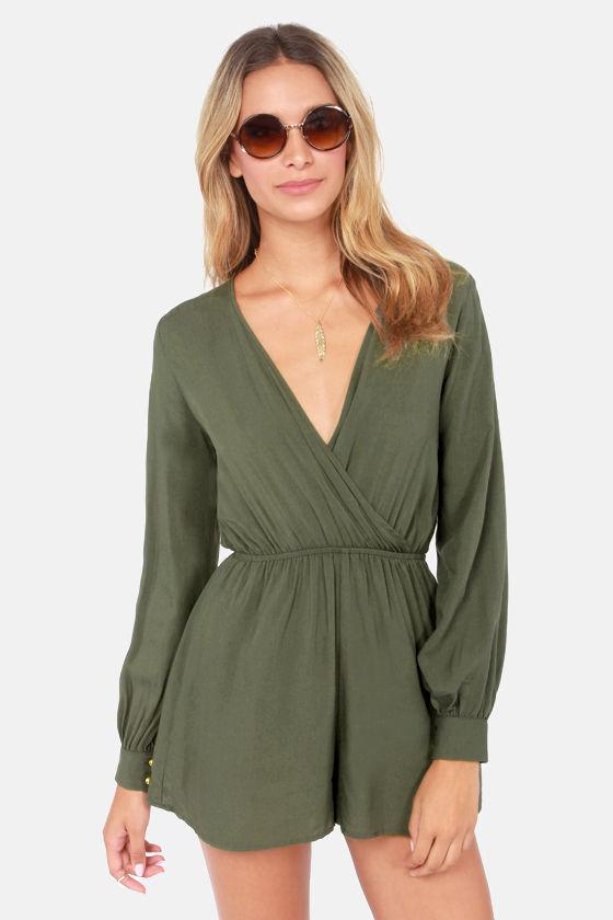 Cute Olive Green Romper Long Sleeve Romper 42 00