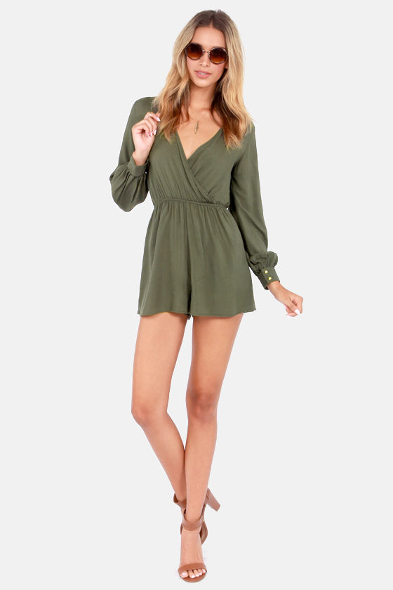 cf3246d69ce Cute Olive Green Romper - Long Sleeve Romper -  42.00