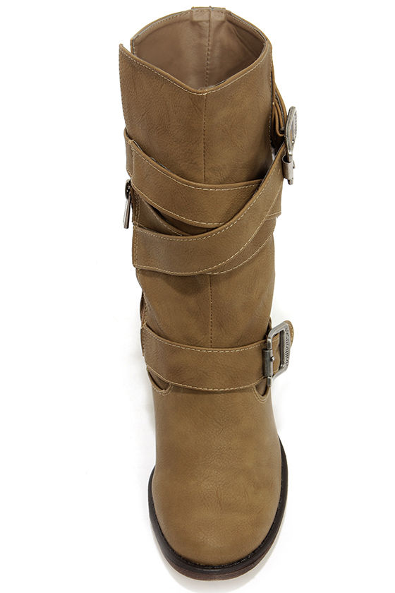 Dollhouse Persuade Taupe Belted Mid-Calf Boots at Lulus.com!