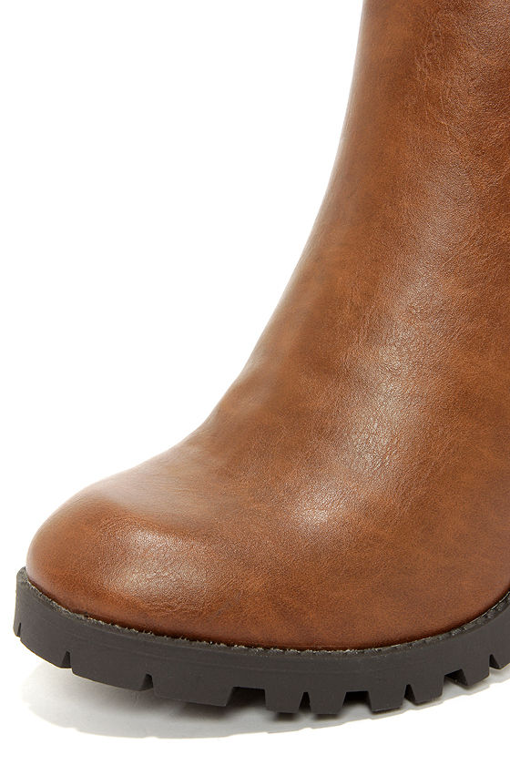 Soda Magic Tan Brown High Heel Ankle Boots at Lulus.com!
