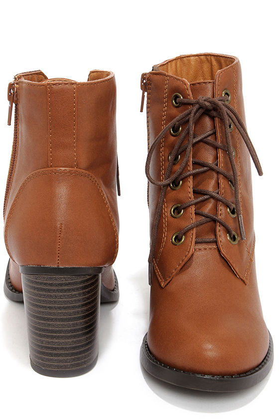 Cool Tan Boots - Lace Up Boots - Ankle Boots - $32.00