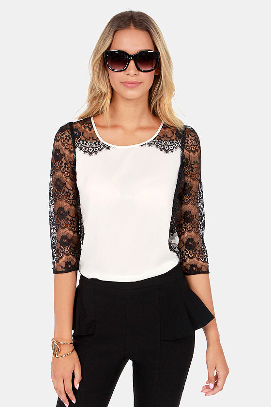 Lace Chaser Black and Ivory Lace Top at Lulus.com!