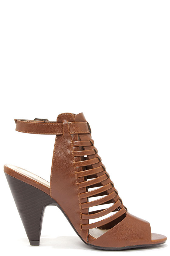 My Delicious Venture Light Brown Caged Shootie Heels at Lulus.com!