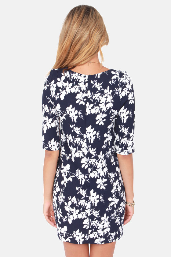 Blossoming Branches Navy Blue Floral Print Dress at Lulus.com!