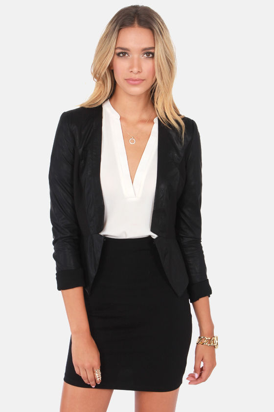As Good as it Gets Black Vegan Leather Blazer at Lulus.com!