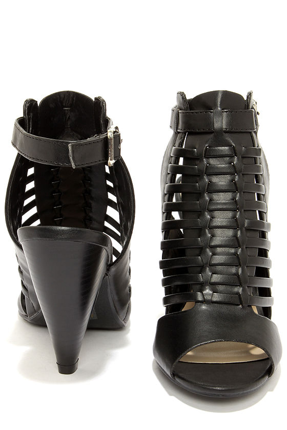 My Delicious Venture Black Caged Shootie Heels at Lulus.com!