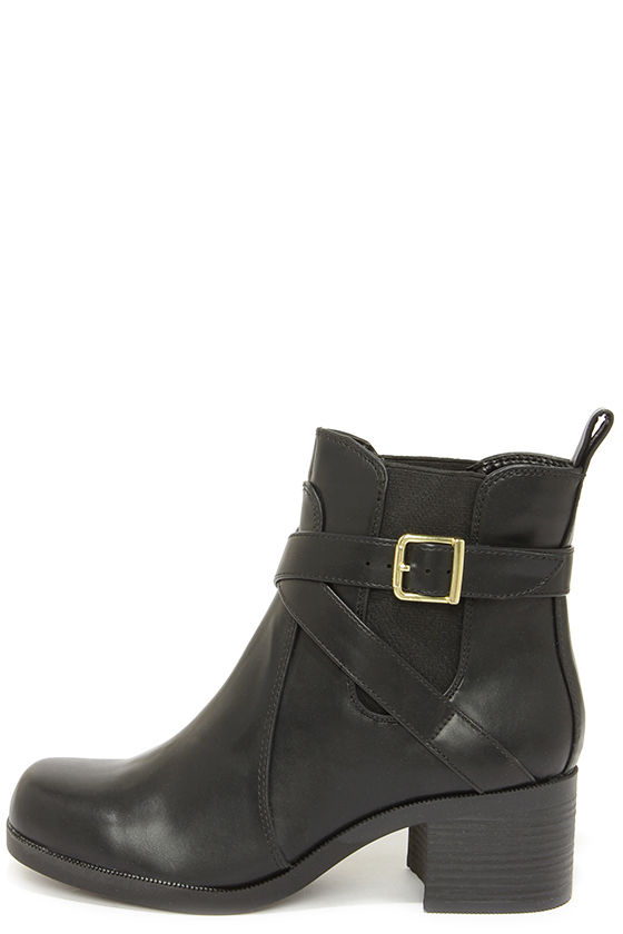 Cool Black Boots - Ankle Boots - Buckle Boots - $32.00